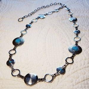 BELT 34/44 faux turquoise silver look chain belt